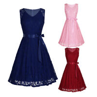 Women Lace V Neck Sleeveless Cocktail Prom Gown Party Evening Skater Mini Dress