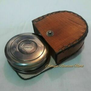 Antique Nautical Brass Stanley London 1885 Compass With Leather Box Gift Item