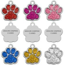 Médaille gravée PATTE avec STRASS pour chiot, petit chien et chat avec gravure