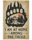 I Am At Home Camping Dictionary Bear Hand Vintage Art Print Poster Unframed