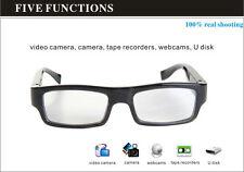 HD 1080P Glasses Camera Spy Hidden Cam TF Card Slot Mini DVR No Holes One Button