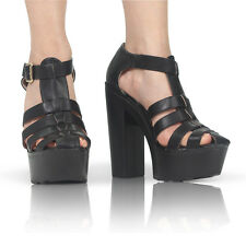 Women Ladies Peeptoe Strappy Platform High Cut out Wedge Shoe Sandals Size 3-8 Black UK 5 EU 38
