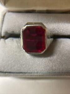 Vintage Men's 14k White Gold Ruby Ring Size 10 - 10.6 Grams Tested 14k & Ruby