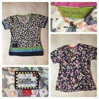 Lot/2 Vera Bradley Mary Engelbreit Bright Floral Uniform Scrubs Tops Small XS