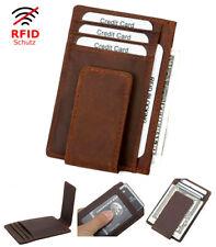 Edles echt Leder Kreditkarten Etui mit Geldklammer RFID-Schutz Kartenetui Neu