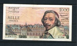 Rare Billet 1000 Francs Richelieu 05/09/57 TTB Fay 42-26