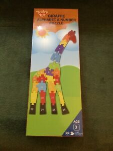 Wood Puzzle Alphabet Numbers Giraffe ABC's and 123's Ages 3+ 26 Pcs NEW