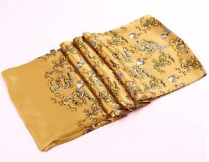 100% Silk Mulberry satin Scarf men neckerchief Wrap gray yellow black MN10-10