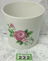 "Ikea Indoor Plant Pot / Planter White With Pink Rose Design 5.4"" Dia. 4.8"" Tall"