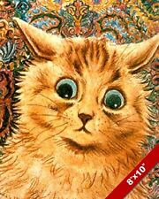 CUTE ORANGE BROWN BIG EYED KITTEN LOUIS WAIN PAINTING CAT ART REAL CANVAS PRINT