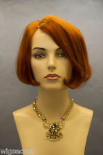 Striking Red Short Human Hair  Straight Wigs