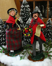 "Byers Choice Carolers Walking Caroling Man 18"" Tall Wood Base Mint Condition"