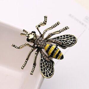 Retro Bee Animal Crystal Rinestone Shirt Collar Brooch Pin Womens Jewelry Gift