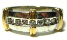 MENS DESIGNER 14K WHITE YELLOW GOLD .15CT DIAMOND EVERYDAY WEDDING RING BAND