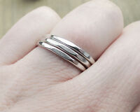 Set of Three Sterling Silver 1.5mm Faceted Stacking Rings