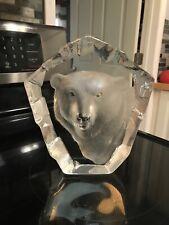 """MATS JONASSON Sweden 3361 Polar Bear Lead Crystal Art Glass Large 9"""" Sculpture"""