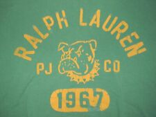 RALPH LAUREN BULLDOG green t-shirt men's L POLO JEANS PJCO