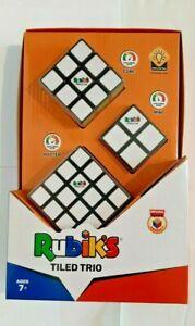 Rubik's Tiled Trio-Cube,Master,Mini-2x2,3x3,4x4-Original Rubik's Product-7+