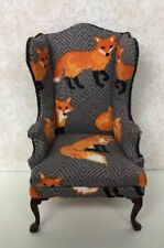 Dollhouse Ministures Artisan OOAK Wing Chsir Fearuring Foxes