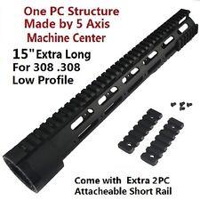 "15"" Super Slim Low Profile Free Float Quad Rail Handguard Extra Rails For 308"
