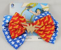 New DC Comics Wonder Woman Cosplay Hair Bow Tie Pin Clip Dress-Up W/ Logo Charm