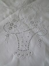 ANTIQUE MADEIRA LINEN TABLECLOTH..HAND EMBROIDERY.BASKETS. BOWS & FLOWERS.88x106