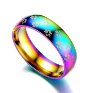 Dog Pet - Paw Print Ring - Stainless steel - Rainbow Colours - subtle Paw prints