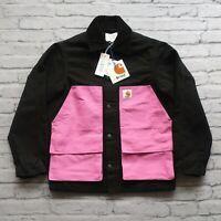 New Awake x Carhartt WIP Michigan Chore Jacket Coat Size S Black Pink