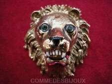 """Broche """"Face de Lion"""" N° 1 dorée Afrique Savane Safari - Bijoux pur Bestiaire"""