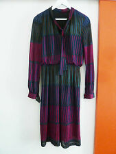 Robe retro vintage des années 60, col lavallière, doublée, T38/40