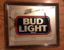 "New listing Rare Vintage 1980's Bud Light Mirror Sign; Genuine Anheuser-Busch, Inc 22"" x 18"""