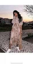 Zara Golden Faded Metallic Effect Midi Asymmetric Hem Skirt Size S