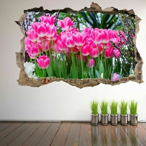 Pink Tulips Flowers Decorative Wall Art Stickers Mural Decal Beauty Shop EM30