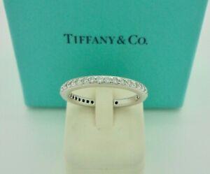 Authentic Tiffany & Co. Legacy Full Diamond Platinum Wedding Band Ring US6 $6950