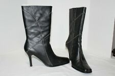 HILLARD & HANSON KRAMER Black/White Stitch Leather Mid-Calf Boots Size 9 M