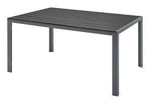 Aluminium Gartentisch 150x90cm Gartenmöbel Polywood Tischplatte Schwarz/Grau