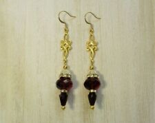 Glass & Gold Tone Knot Charm Earrings Handmade Dark Red Rondelle and Drop Czech