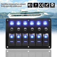 6 Gang LED Rocker Switch Panel Circuit Breaker 12-24V Boat Marine Waterproof HOT