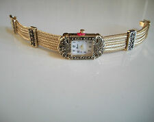 Vintage Look Bracelet Marcasite Antique Lady Special Occasion Gold Finish Watch