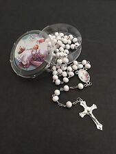 12-Baptism Favors Rosaries Cross Scented WhiteParty Recuerdos de Bautizo Rosario