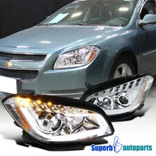 Clear LED Daytime Lamps Tube Bar Projector Headlights 08-12 Chevy Malibu Pair