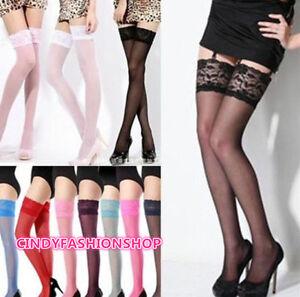 Hot Sexy Women Girl Fashion Ultrathin Lace Top Sheer Thigh High Silk Stockings