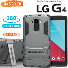 Rugged Hybrid Armor Impact Hard Case Built In Kick-Stand Cover For LG G4 2015 AU