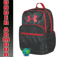 Under Armour HOF Youth Backpack School Book Bag Black Camo/Red 1256655 008 NWT