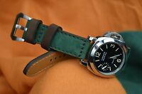 MA WATCH STRAP 26 24 22MM NUBUCK LEATHER FOREST GREEN BROWN HANDMADE FOR PANERAI