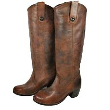 FRYE women boots brown leather tall knee high button pull shoes Jackie sz 6