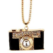 rhinestone camera pendant necklace,crystal camera charm necklace,black color