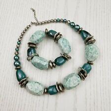 Jewelmint Chunky Turquoise Silver Tone Bead Statement Necklace & Bracelet Set