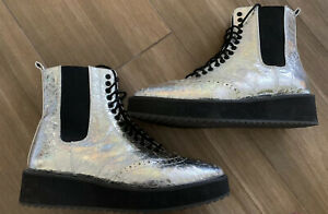SHELLYS LONDON Silver Crinkle Leather LILY Chelsea Womens Boots SZ 7.5 M, D13712