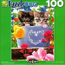 Heart Bucket of Kittens 100 Piece Jigsaw Puzzle, Beautiful Baby Cats and Flowers